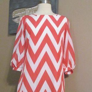 Coco Love Coral and White Chevron Dress